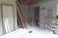 upper floor apartment with stored building material